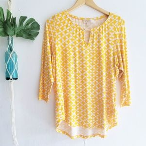 Michael Kors Yellow Print Tunic Top M